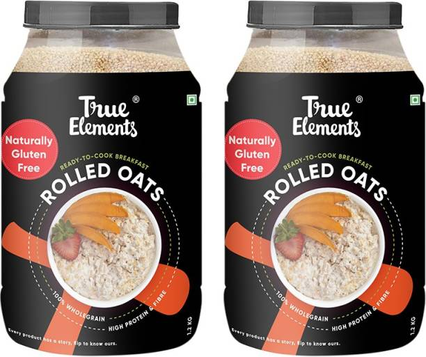 True Elements Rolled Oats, 100% Wholegrain, High Protein & Fibre, Naturally Gluten Free, Ready to Cook Breakfast