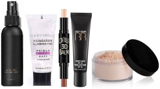 Vedy GIRLS BEAUTYFUL FULL FACE MAKEUP,THE MATTE MAKE UP FIXER LONG LASTING AND HYDRATING FACE SPRAY,ILLUMINATING FACE MAKEUP BESE WATER PROOF PRIMER,BB 5 IN 1 FOUNDATION CREAM 60G,2 IN 1 BB HIGHLIGHT AND 3D CONTOUR BALM STICK 6.2G,MINERALIZE LIGHT PLUS LOOSE POWDER FOUNDATION SPF 15