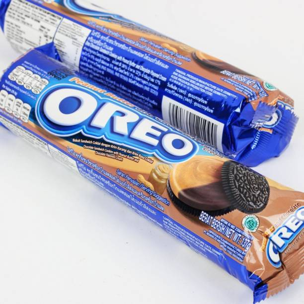OREO Peanut Butter & Chocolate Cream Flavoured Sandwich Cookies, 133g [Pack of 2, Imported]