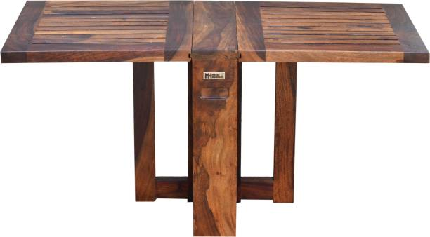 Meera Handicraft Folding Dining Table Solid Sheesham Wood|Natural Finish Solid Wood 4 Seater Dining Table