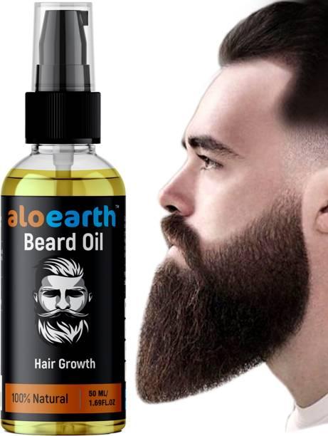 Aloearth Advanced Beard Growth Oil for Men - (Almond & Thyme) for Beard Growth - Hair Oil (50 ml) Hair Oil
