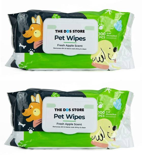"""THE DDS STORE Pet Wipes for Dogs, Puppies & Pets - Apple Scent 6""""x 8"""" - Pack of 100 Wipes.. Pet Ear Eye Wipes"""
