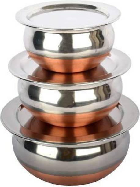 MAAUVTOR Copper Stainless Steel Coated Serving Cookware Bowl Handis Set of 3 Piece with Lids, Steel Serving Bowls Set, Steel Cookware Set, Fraying Bowl Set with Lid, Milk Pot and Pan Set With Lid/Prabhu Chetty Set With LIds/Urli Set/Steel Bowls/Tea Pot and Pan Set Induction Bottom Cookware Set
