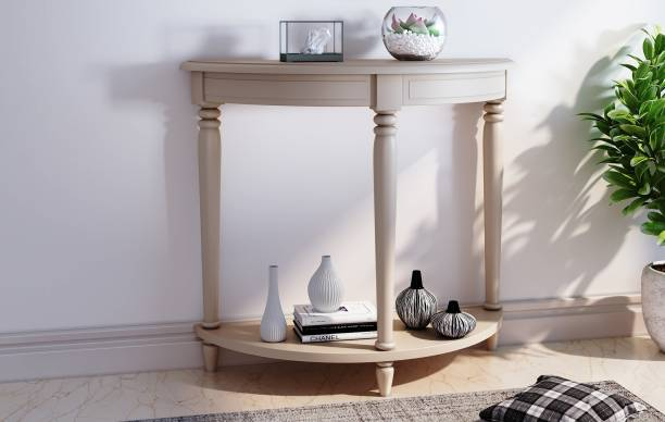 Decorhand Hand Crafted Wooden Off White Console Table for Living/Hallway Room Solid Wood Side Table