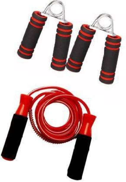 KEMORA Sports & Fitness Ball Bearing Foam Handle Jump Rope & 2Pcs. Hand Grips Gym & Fitness Kit Gym & Fitness Kit
