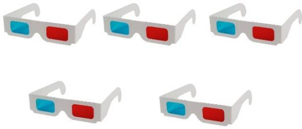 Jambar Red & Anaglyph 3D Paper Glass ( 5 Pcs.Pack ) Red and Cyan 3D for 3D Movie Magazine Video Glasses