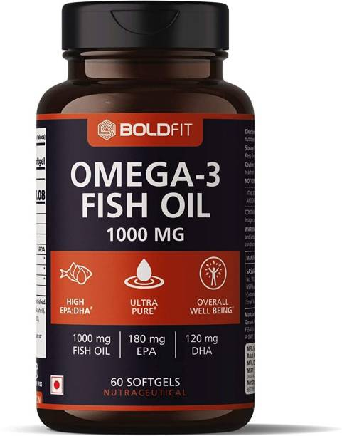 BOLDFIT Omega 3 Fish Oil 1000mg supplements, Supports Heart, Brain, Joints & Skin