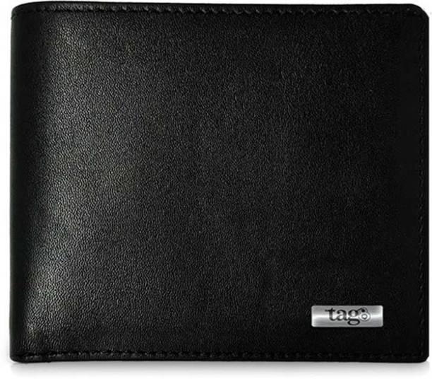 Tag8 Men & Women Travel Black Genuine Leather Wallet