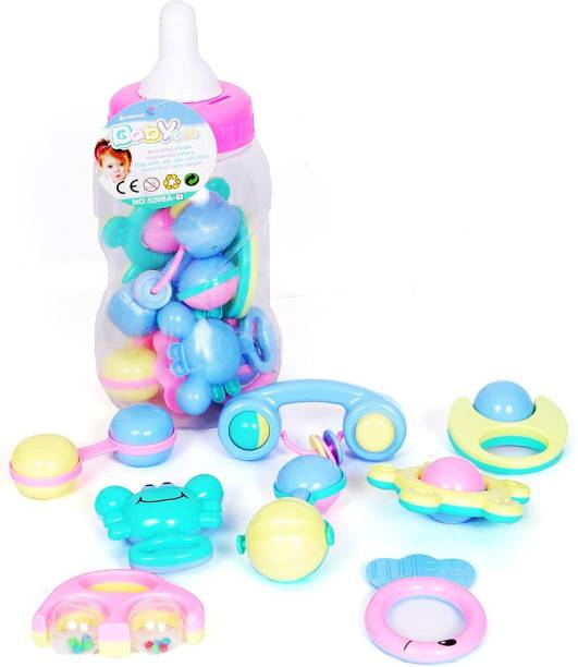 ToysBhoomi Infant and Toddlers Feeding Bottle Baby Rattle 8 Piece Sound Toy - BPA Free, 100% Safe & Non-Toxic Rattle