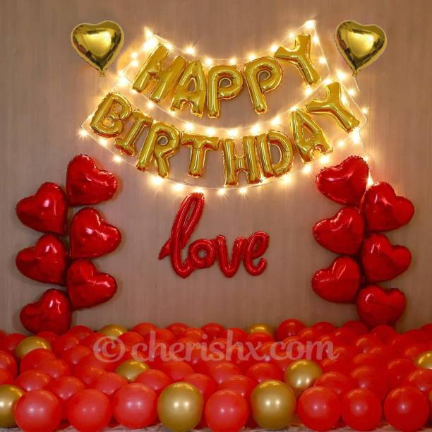 CherishX.com Solid Romantic Happy Birthday Surprise for Husband with Heart Shape Balloons, Love Letter and Golden and red Balloons (Premium) Letter Balloon
