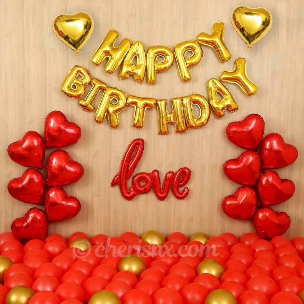 CherishX.com Solid Romantic Happy Birthday Surprise for Husband with Heart Shape Balloons, Love Letter and Golden and red Balloons (Basic) Letter Balloon