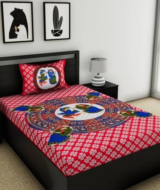 Flipkart SmartBuy 104 TC Cotton Single Jaipuri Prints Bedsheet
