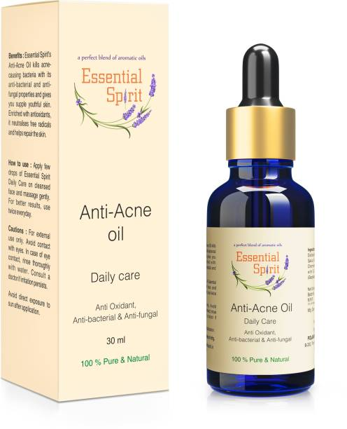 Essential Spirit Anti-acne treatment, Skin Toner - Fights acne, Clear Porse, Dark Spots - with Anti-Bacterial, Anti-Fungal and Anti-Oxidant properties - 100% Pure and Natural Essential Oils blend - 30 ml
