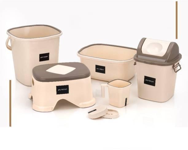 Actionware Bathroom Set Combo - 6 Pcs. (Ivory) (Bucket - 25 Ltr., Tub 20 Ltr., Dustbin 12 Ltr., Stool, Mug 1.5 Ltr., Soap Case) 25 L Polypropylene Bucket