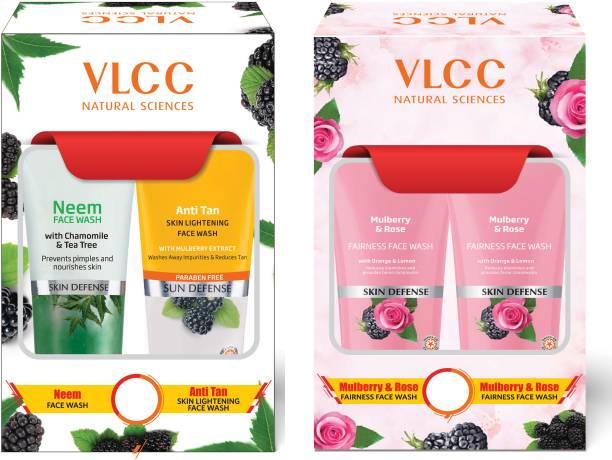 VLCC Neem + Anti Tan  (2x150ml) & Mulberry Rose  (2x150ml) Face Wash