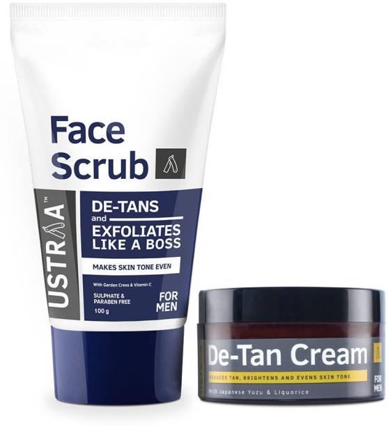 USTRAA Total De-Tan Kit -De-tan Face Cream, 50g - De-Tan Face Scrub with Walnut Granules, 100g