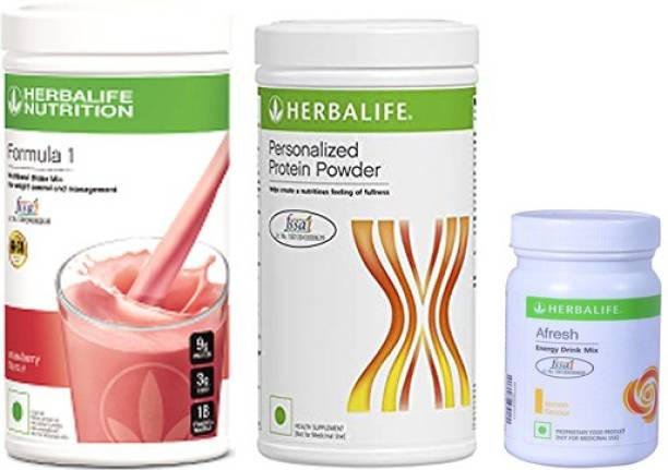 HERBALIFE Weight Loss Combo (Formula 1 Nutritional Shake+Protein Powder+Afresh Energy Drink) Energy Drink