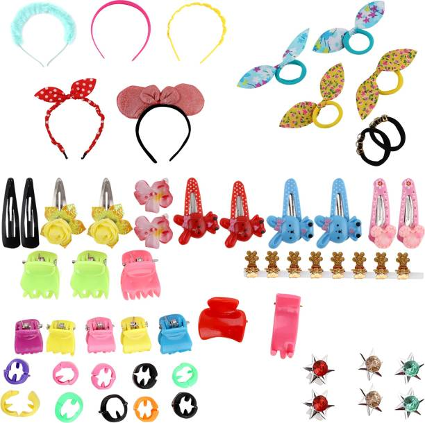 nakas Baby Hair Band; Mix Style Tic Tac; Hair Clips; Pin; Elastics Ponytail Holder Hair Accessories for Girls; 60 Pieces/Set (Multicolor) Hair Accessory Set