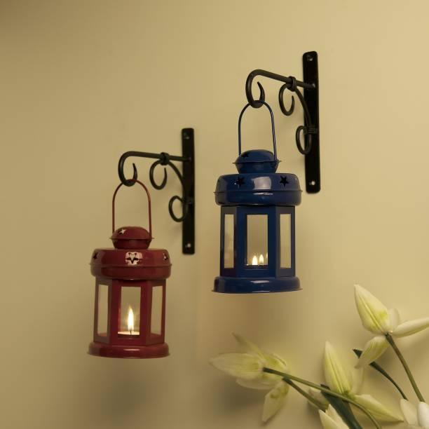 Flipkart SmartBuy Wall Star Light Decorative Metal Lantern Indoor/Outdoor Hanging Lantern, Set of 2 Designer Candle Tealight Holder with Wall Hook, Red Blue Red, Blue Metal Hanging Lantern