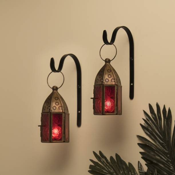 Flipkart SmartBuy Wall Metal Decorative Antique Brass Finish Moroccan Lantern Candle Holder, Set of 2, Tealight Hanging Home Office Decor with Wall Hook, Red Metal Hanging Lantern
