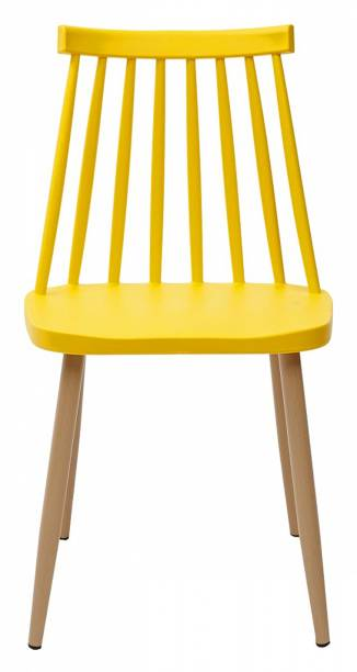 Urbancart Spindle Back Side Heavy Duty Plastic Chair with Metal Legs for Cafeteria Seating/Dining/Kitchen/Restaurants/Hotels-Yellow Plastic Living Room Chair