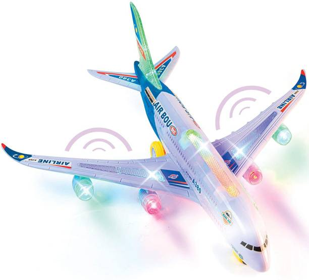 Toyvala Bump and Go Electric A380 Airplane Toys for 1 2 3 4 5 6 7 Years Old and up Plane Toy Model with Lights and Music, Bump and Go Airpalne Toy for Boys and Girls