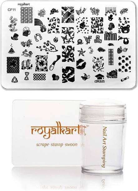 Royalkart Nail Art Stamping Kit Jumbo Image Plate With Soft Nail Silicon Stamper & Scraper CF11