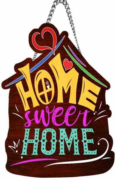 S K Bright Wooden Home Sweet Home Name Plate