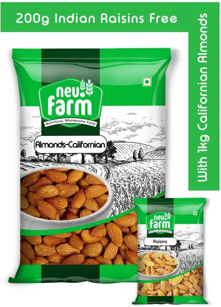 Neu.Farm Almonds/Badam 1kg - Californian - Premium Quality - 200g Indian Raisins Free Almonds, Raisins