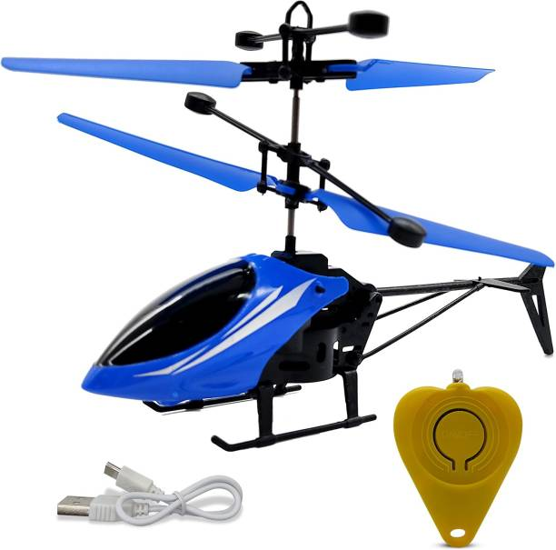 Miss & Chief Infrared Induction Helicopter Sensor Aircraft USB Charger Flying Helicopter 2 in 1 Flying Helicopter with Small Remote (6 to 14 Years , Blue)