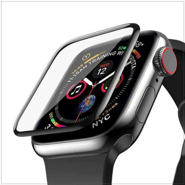 CallSmith Edge To Edge Tempered Glass for Apple Watch 44mm Series 4 , Apple Series 5, Latest Generation Curvy boder Glass membran PMMA Clear Film with Built-in 9H Hardness