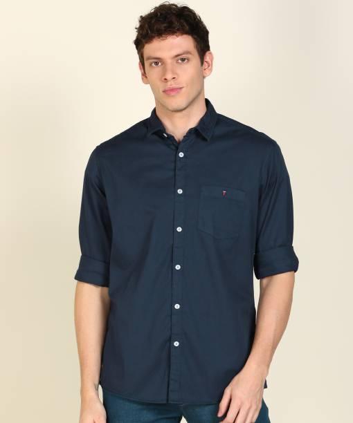 Louis Philippe Jeans Men Solid Casual Dark Blue Shirt