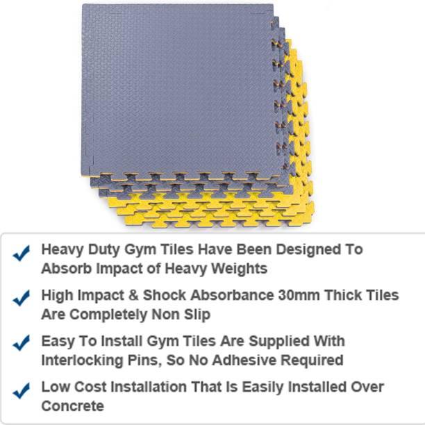 Fitness Guru Interlocking EVA Foam Padding, Non-Toxic Foam Mat Floor Tiles, (1MAT) Grey, Yellow 20 MM mm Martial Arts Mat