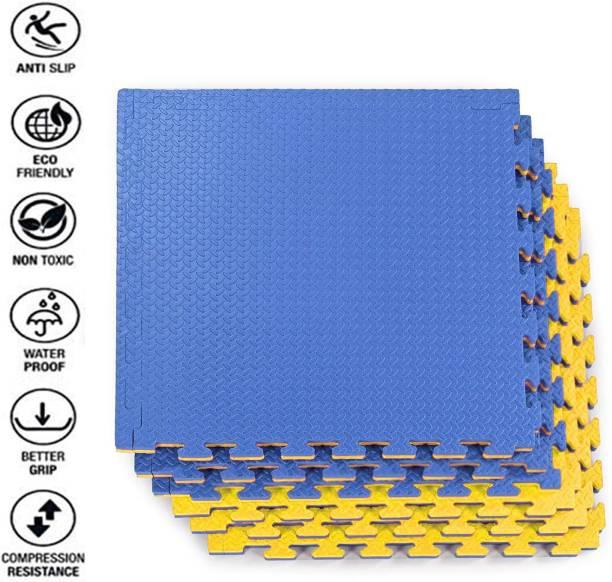 Fitness Guru Interlocking EVA Foam Padding, Non-Toxic Foam Mat Floor Tiles, (1MAT) Blue, Yellow 20 MM mm Martial Arts Mat