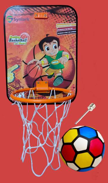 Synlark Basket Ball kit for Kids Playing Indoor Outdoor Basket Ball Hanging Board with Ball Sports Basket Kit for Kids Basketball