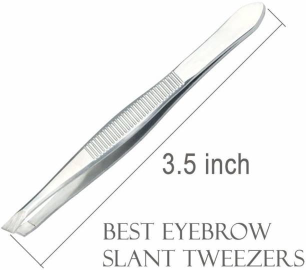 Top Select Metal Flat Tip Tweezer Plucker for Women Eyebrows and Upper Lips, Silver