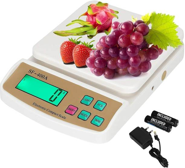 RTB Electronic weight machine for kitchen home,weighing machine, | Electronic Food Weight Scale Upto 10 KG for Home, Kitchen, Shop | Small, Portable for Food, Fruits, Products|White -with Adapter Weighing Scale