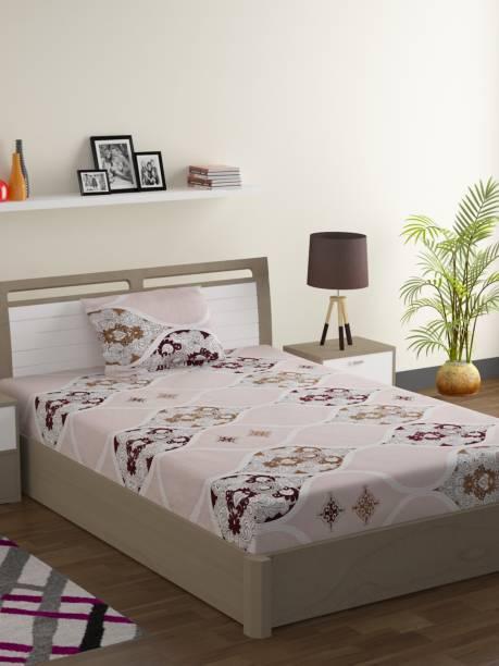 SWAYAM 144 TC Cotton Single Geometric Bedsheet