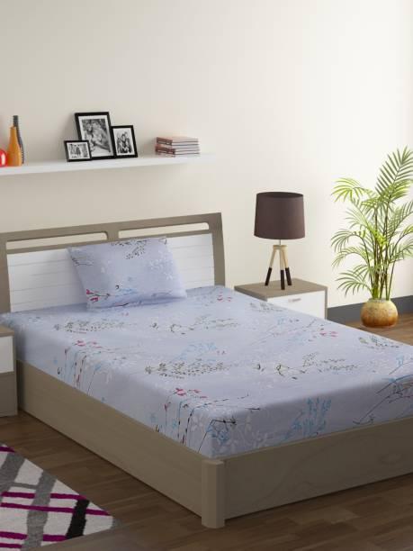 SWAYAM 144 TC Cotton Single Floral Bedsheet