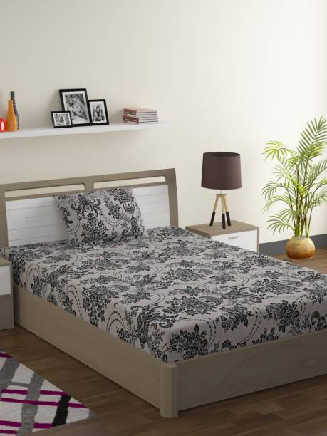 SWAYAM 120 TC Cotton Single Floral Bedsheet