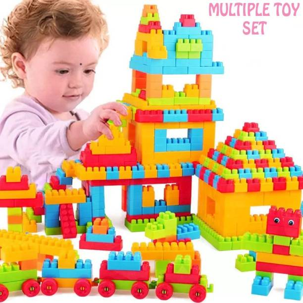 FRAONY Building Blocks,Creative Learning Educational Toy for Kids Puzzle Assembling Shape Building Unbreakable Toy Set (Multicolor,100 Pcs)