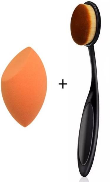 BELLA HARARO Super Soft Oval Foundation Brush with Sponge puff blender