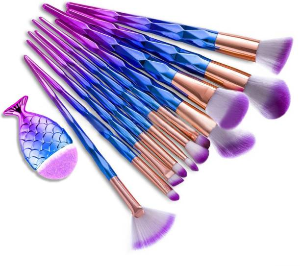 BELLA HARARO Premium Skinplus Diamond Pattern Unicorn Style Makeup Brush Set - Blue Purple