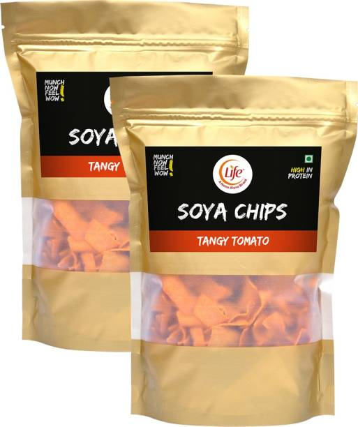 Life SOYA Chips Fiber Gluten Free | Tomato | Flavour (Each-150g) Namkeen & Protein Snack Evening Party Munch Anytime Crunch |Pack of 2| (Combo Pack - 300g) Chips