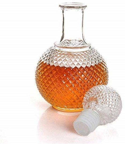 BRIGHTLIGHT Round Ball Shape Glass Decanter with Stopper Cap for Whiskey, Wine, Brandy, Scotch, Liquor, Champagne, Beer, Vodka, Water Decanter