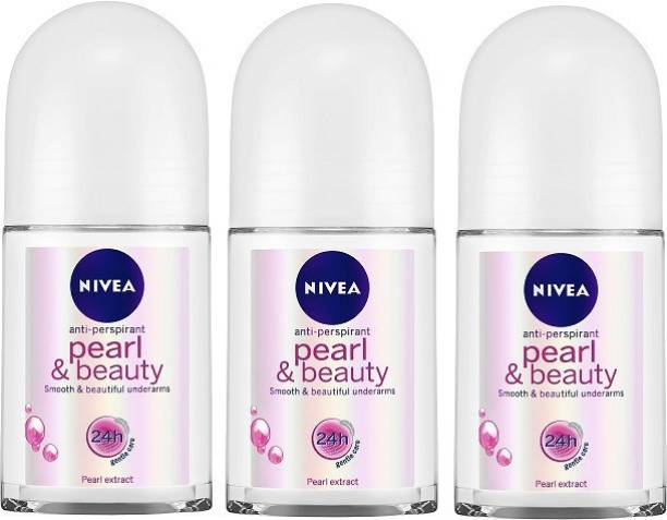 NIVEA Pearl & Beauty Roll On 50 ml - Pack of 3 Deodorant Spray  -  For Women