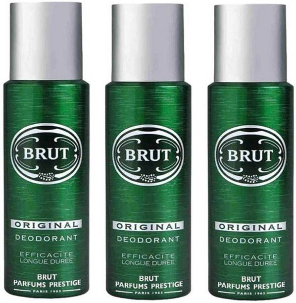 BRUT Original Deodorant for Men | Long Lasting Robust Fragrance 3x200ml Deodorant Spray  -  For Men
