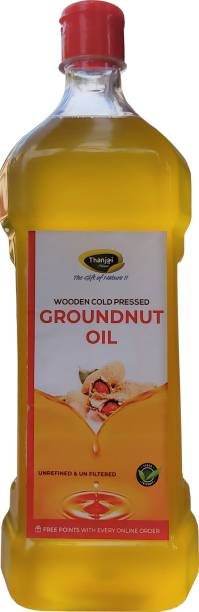 THANJAI NATURAL Virgin Groundnut Oil Wooden Cold Pressed/Peanut Oil for Cooking- Heart Health/Unrefined/Cholesterol Free /No Preservatives Groundnut Oil Plastic Bottle