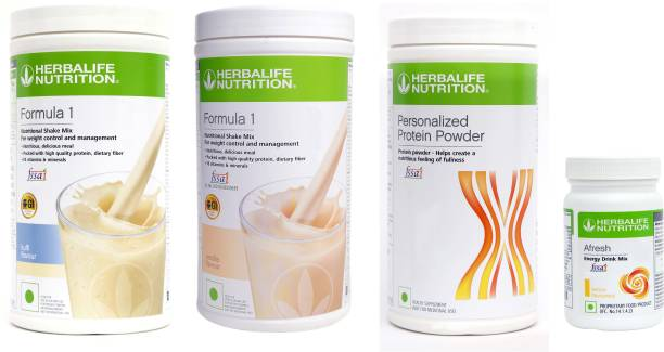 HERBALIFE Weight Loss Combo: Formula 1 Nutritional Shake+Protein Powder+Afresh Energy Drink Energy Drink