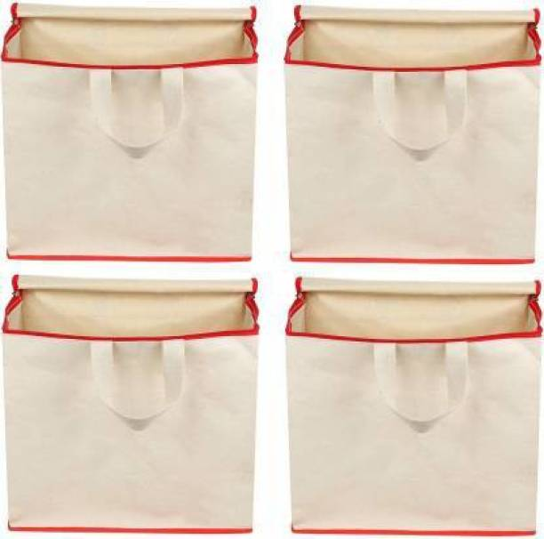 bagage Shopping Bag Pack of 4 Grocery Bags (White) Pack of 4 Grocery Bags